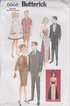 "Tuxedo Pattern For Fashion Doll 11 1/2"" Gown Dress Suit Skirt Shorts Uncut Butterick 6668 Retro 50s 60s by PrettyfulPatterns on Etsy"