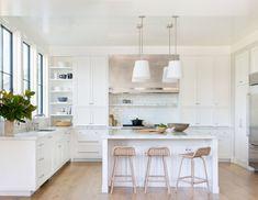 White Shaker Kitchen Cabinets, All White Kitchen, New Kitchen, White Kitchens, Dream Kitchens, Eclectic Kitchen, White Cabinets, Kitchen Sink, Layout Design