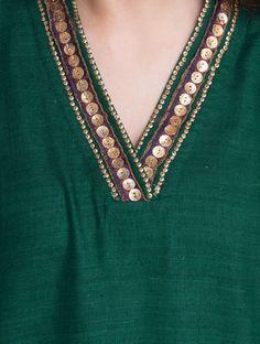 Green-Golden Sequin Embellished V-Neck Matka Silk Kurta Kurta Neck Design, Saree Blouse Neck Designs, Neckline Designs, Dress Neck Designs, Designs For Dresses, Simple Kurta Designs, Silk Kurti Designs, Kurta Designs Women, Kurti Designs Party Wear