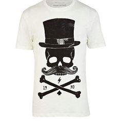 Ecru skull hat graphic print t-shirt - print t-shirts - t-shirts / vests - men Cool Tees, Cool Shirts, T Shirty, River Island Fashion, T Shirt Vest, Sharp Dressed Man, Blazer Fashion, Polo T Shirts, Graphic Tee Shirts