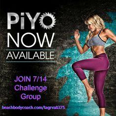 PiYO is now here! Join me in my 7/14 PiYo Challenge Group.  www.beachbodycoach.com/tagrva8375