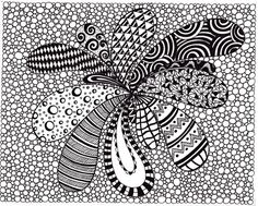 Zentangle Inspired Abstract Art print, Ink Drawing Zendoodle, Printable Art, Black and White