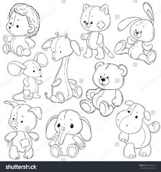 Vetor stock de Collection Stuffed Animals Soft Toys Coloring (livre de direitos) collection of stuffed animals. Stuffed Animals, Wolf Stuffed Animal, Stuffed Toys, Doodle Drawings, Cartoon Drawings, Easy Drawings, Clipart Baby, Animal Coloring Pages, Coloring Books