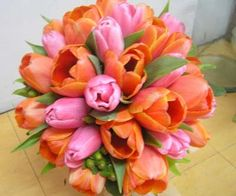 pink and orange tulip flower arrangements for weddings - Google Search
