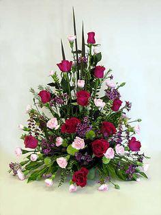Right Triangle Floral Arrangement Altar Flowers, Church Flowers, Funeral Flowers, Funeral Floral Arrangements, Large Flower Arrangements, Deco Floral, Arte Floral, Floral Design, Corporate Flowers