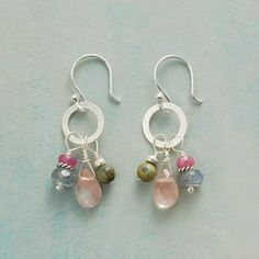 PINK PRELUDE EARRINGS - The blush of cherry quartz is backed by the moody hues of labradorite and chrysocolla and the pop of pink sapphire in these earrings of varied gemstones. Sterling silver disk and wires.