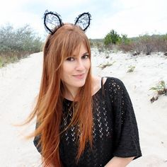 Create Cute Lace Halloween Cat Ears | Guidecentral #pintorial #guidecentral #DIY #halloween #costume #lace #cat