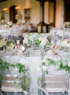 Inspiring bride and groom place setting, floral design by Elegant by Design, event planned by Brooke Keegan Weddings and Events, photo by Troy Grover Photographers | via junebugweddings.com
