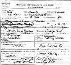 Elvis' birth certificate.