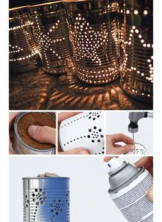 Tin Can Lanterns - DIY Outdoor Lighting Ideas - Click for Tutorial
