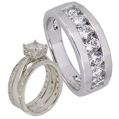 4 pieces His and Hers Silver 925 Princess Cubic Zirconia Wedding Couple Matching Ring Set Sz 9, 9. Crafted of Solid Sterling Silver 925, Rhodium Plated. Stamp 925. High Quality Cubic Zirconia stone. Come with a FREE gift box. 30 Days Money Back Guarantee.