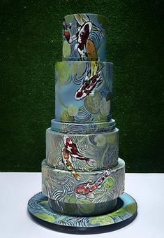 Chinese Birthday Cake - Koi Pond - cake by Jackie Florendo Amazing Wedding Cakes, Amazing Cakes, Pretty Cakes, Beautiful Cakes, Jungle Cake, Jungle Theme, Pond Cake, 70th Birthday Cake, Teen Cakes