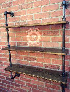 Steampunk plat, industriële rekken, muur planken, industriële plank, pijp plat, steampunk meubilair, pijp rekken, rustieke plank, rekken door FerreroArtDesign op Etsy https://www.etsy.com/nl/listing/256966738/steampunk-plat-industriele-rekken-muur