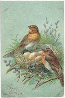Leaping Frog Designs: Free Image Friday Vintage Easter Post Card Birds On Nest