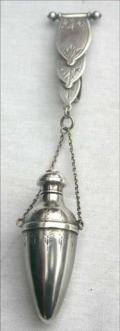 2 Sterling silver chatelaines incl a perfume or vinaigrette & an Art Nouveau figural belt clip