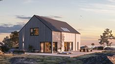 Mareld Modern Farmhouse Exterior, Beautiful Buildings, House Floor Plans, Interior And Exterior, Minimalism, Shed, Villa, Outdoor Structures, Architecture