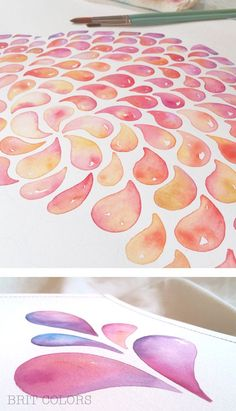 """watercolor drops"" by BRITcolors Handmade colorful watercolor painting"