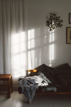 I'm happy when I think of the sun peeking through the blinds on sunny days in bed. It makes me think of home.