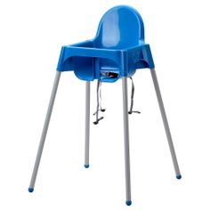 Best Value!!!  ANTILOP Highchair with safety belt - blue/silver color - IKEA regular price $19.99 plus $5 for the table top