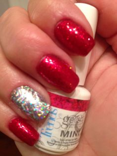 Gelish good gossip with life of the party on top with holo foil and glitter Chrismas Nail Art, Gelish Colours, Gelish Nails, Gossip, Hair Beauty, Glitter, Party, Top, Life