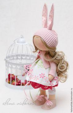 Коллекционные куклы ручной работы. Ярмарка Мастеров - ручная работа. Купить Зайка. Handmade. Бледно-розовый, тыквоголовка, Декор