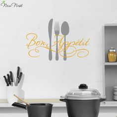 Bon Appetit Fork Wall Stickers Kitchen Room Decoration. DIY Vinyl Adesivo de paredes Home Decals Art Posters French Decals