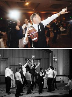 Sports themed wedding ideas: Football garter toss