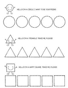 Tracing Shapes - Circle, Square, Triangle and Shape Tracing Worksheets, Tracing Shapes, Printable Preschool Worksheets, Free Kindergarten Worksheets, Pre K Worksheets, Writing Worksheets, Preschool Writing, Preschool Learning, Preschool Activities