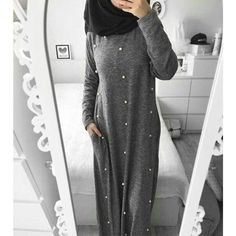 Women Casual Pearl Decorated Maxi Dress/ Abaya with Colors) Islamic Fashion, Muslim Fashion, Modest Fashion, Fashion Outfits, Hijab Outfit, Hijab Dress, Dress Skirt, Street Hijab Fashion, Abaya Fashion