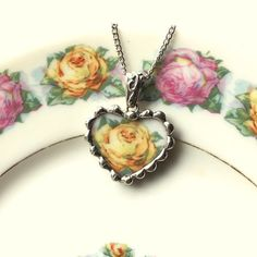Broken china heart pendant necklace Antique yellow rose porcelain broken china jewelry