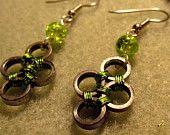 """Recycled """"Be Green"""" Bike Chain Earrings"""