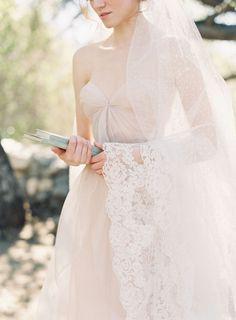 Sheer Lace Trimmed Mantilla Veil #bridal #wedding #veil