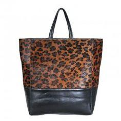 Celine Cabas Calfskin Bag Leopard Black