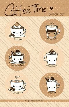 Image shared by GabrielleSparkly. Find images and videos about cute, kawaii and drawing on We Heart It - the app to get lost in what you love. Doodles Kawaii, Cute Doodles, Kawaii Drawings, Cute Drawings, Griffonnages Kawaii, Kawaii Stuff, Kawaii Things, Doodles Bonitos, I Love Coffee