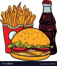 Cartoon image of junk food cola drink vector image on VectorStock Cute Cartoon Wallpapers, Cartoon Images, Cartoon Styles, Art Drawings For Kids, Cute Drawings, Food Illustrations, Illustration Art, Pollo Kfc, Fruit Sketch