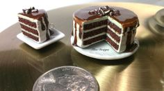 Miniature Mint Chocolate Cake Set by TilunDesigns on Etsy, $20.00