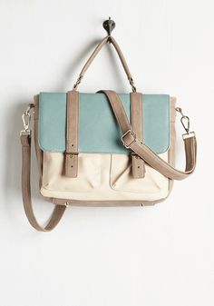 Your chic skills will become legendary when you carry this ModCloth-exclusive satchel across campus! From classes to coffee shops, this  faux-leather tote's golden accents, pockets, and soft taupe, aqua, and ivory hues earn the highest marks in style.