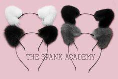 Mink Fur Cat Ears Headband in Black, Brown, Grey, or White! — The Spank Academy Cat Whisperer, F2 Savannah Cat, Cat Ears Headband, Grey Cats, Black Ribbon, Mink Fur, Cat Lady, Brown And Grey, Cute Animals