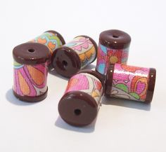 Seventies Look Barrels Beads -  Paper and Polymer Clay by BarbiesBest on Etsy