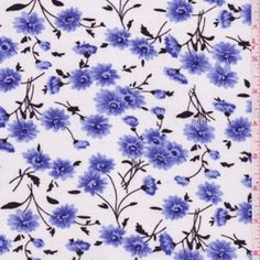 White/Blue Floral Challis - Fabric By The Yard