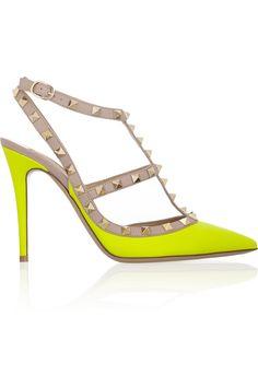 Valentino|Rockstud neon leather pumps|NET-A-PORTER.COM