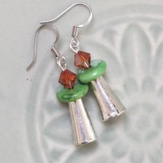UU Chalice Earrings with Red Magma Swarovski Crystal on Green Magnesite disc with Silver, by jUUwelry on Etsy
