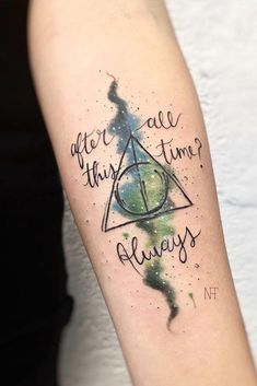18 Harry Potter Tattoos For True Fans Of The Magical Story, Tattoo, Harry Potter Quotes Tattoos ★ Unique, small or big, quote or watercolor Harry Potter tattoos ideas with Deathly H. Harry Potter Couples, Arte Do Harry Potter, Harry Potter Quotes, Small Harry Potter Tattoos, Hp Tattoo, Tattoo You, Back Tattoo, Tattoo Quotes, Unique Tattoos Quotes