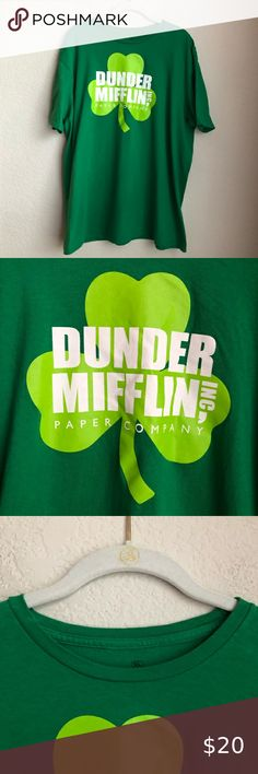 "The Office Dunder Mifflin Short Sleeve Graphic Tee Size Extra Large 100% Cotton Good Condition - No Visible Rips Or Stains  Crewneck Collar Green Clover Graphic Great For St. Patrick's Day!  Approximate Measurements (In Inches And Laid Flat): Length: 29"" Pit To Pit: 23.5""  Make An Offer Or Bundle And Save 20% The Office Shirts Tees - Short Sleeve St Patrick's Day Outfit, Outfit Of The Day, The Office Shirts, Dunder Mifflin, Clover Green, Plus Fashion, Fashion Trends, Graphic Tees, Tee Shirts"