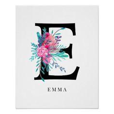 Letter E monogram pink floral watercolor nursery Poster Canvas Letters, Painted Letters, Monogram Letters, Hand Painted, Small Canvas Paintings, Diy Canvas Art, Canvas Ideas, Letter E, Black Letter