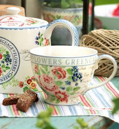 I just found the prettiest dishes. Greengate Floral. They will be perfect for morning coffee & tea.......................
