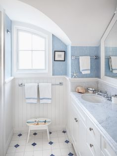 Bathroom idea?  Love the blue and white paneling.  Simple decor.