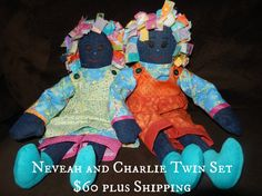 SOLD Neveah and Charlie Twins 16 inch Handmade Rag Dolls. Click through to see some other dolls to order.