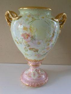 Royal Bonn Germany Floral Urn Vase, C 1900