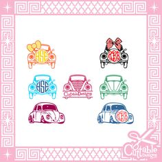 Vw Bug Monogram Frames Cut Files SVG / pdf / EPS by CuttableDesigns on Etsy https://www.etsy.com/listing/228938831/vw-bug-monogram-frames-cut-files-svg-pdf
